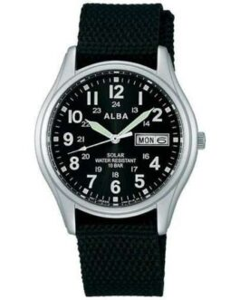 Official ALBA Military Solar Watch AEFD557 & Box Water Resist / Daydate Made in Japan