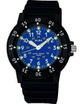 Official ALBA Sportsr Watch Black/Blue APBS141 Polyurethane Belt Men's